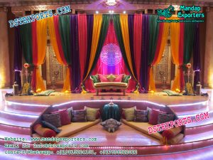 Mehndi Stage Decor With Heavy Curtains