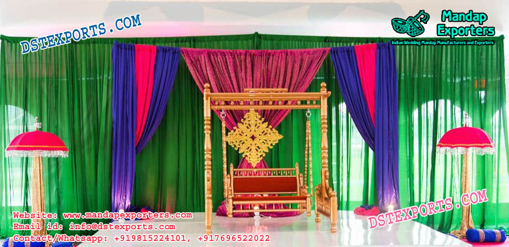 Mehndi Stage Decoration With Swing \u2013 Mandap Exporters
