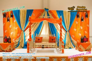 Mehndi Stage With Decorated Jhula Swing
