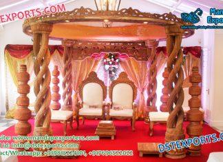 Spiral Pillar Wedding Wood Mandap