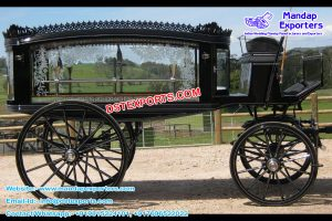 Black Funeral Horse Drawn Carriage