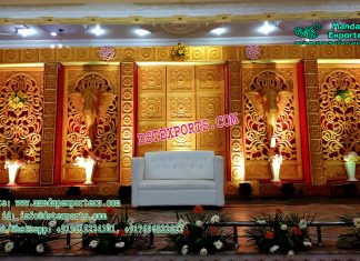 Wedding Stage Decor With Golden Backdrop Panels