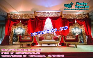 Royal Red Gold Combo Wedding Stage
