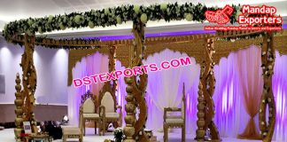 New Style Twisted Pillars Wooden Mandap