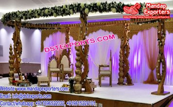 New Style Twisted Pillars Wooden Mandap