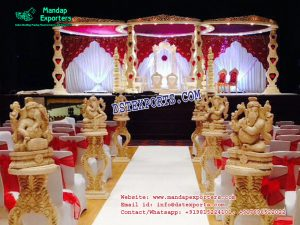 Indian Wedding Heart Shape Wooden Mandap