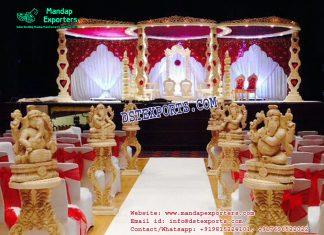 Indian Wedding Heart Shape Wooden Mandap
