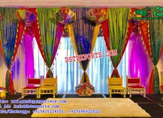 Rajasthani Style Wedding Stage Backdrop Curtains