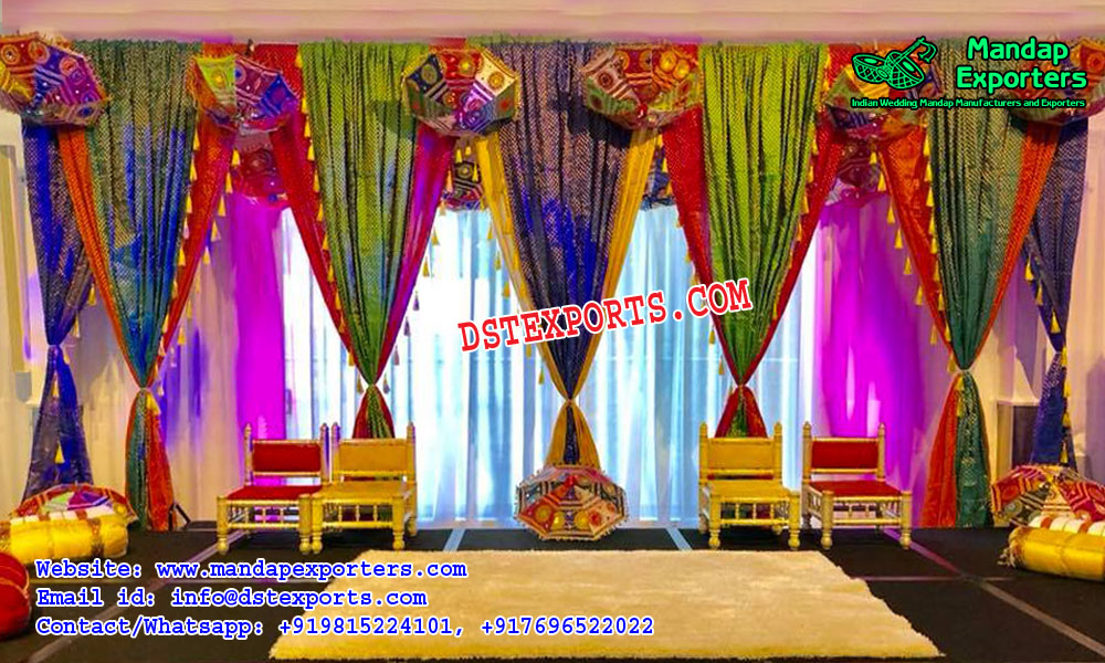Rajasthani Style Wedding Stage Backdrop Curtains Mandap