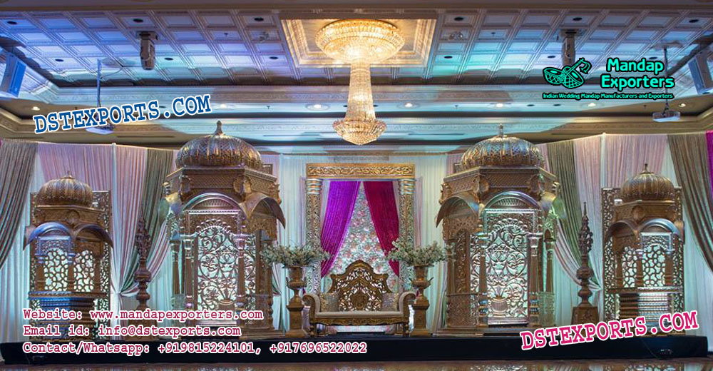 Traditional Wedding Temple Style Stage Decor