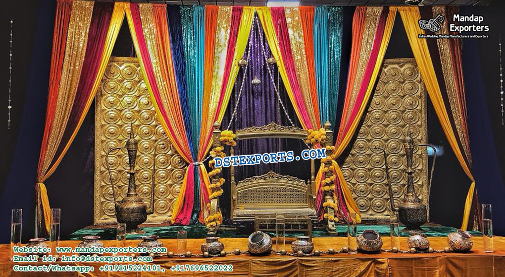 Ancient Mehndi Function Stage Decoration