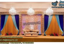 Asian Wedding Stage With Flower Wall