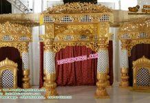 Fiber Golden Decorated Wedding Stage Set