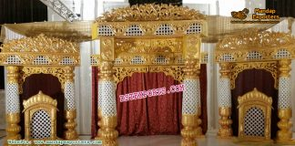 Fiber Golden Decorated Wedding Stage Set