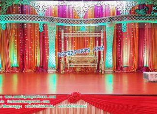 Gorgeous Crystal Pillar Palazzo Wedding Stage