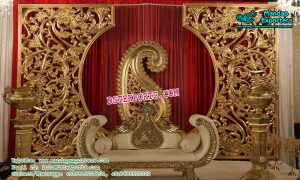 Impressive Wedding Golden Stage Decoration