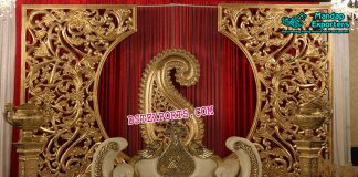 Impressive Wedding Golden Stage Decoration