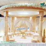 Indian Wedding Wooden Look Fiber Mandap