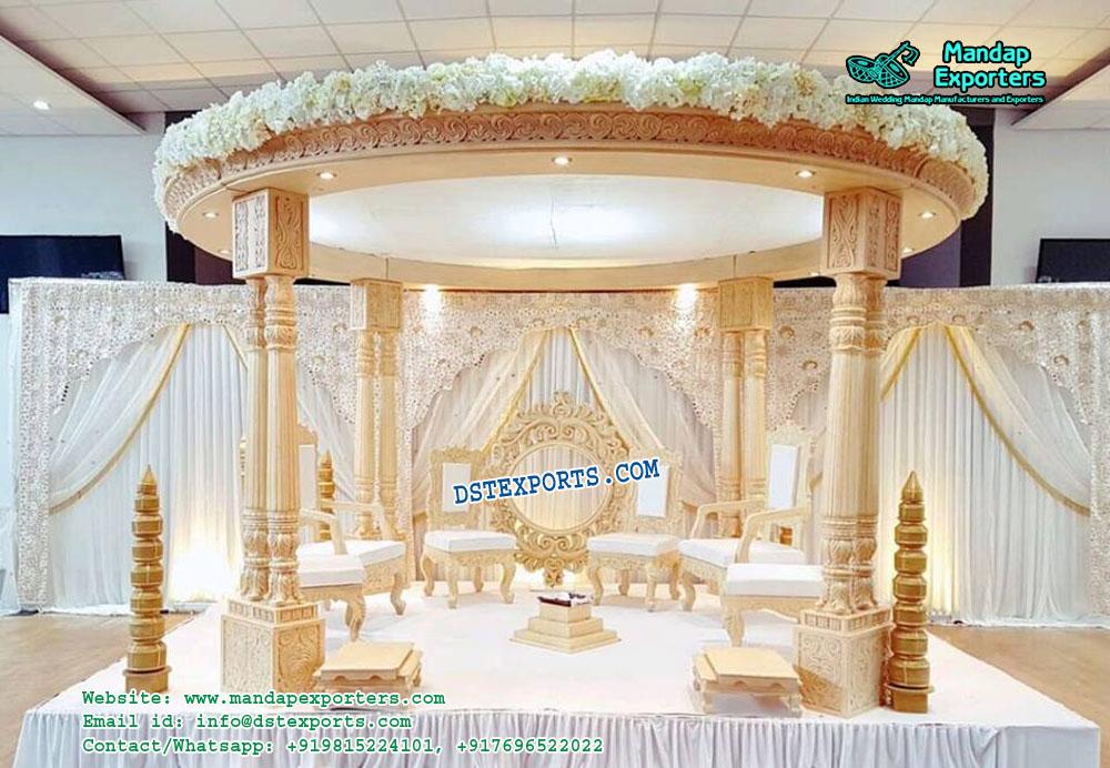 Indian Wedding Wooden Look Fiber Mandap