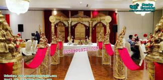 Marriage Reception Walkway Pillars With Ganesha