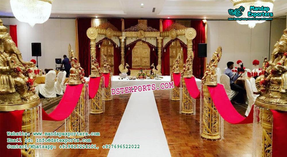 Marriage Reception Walkway Pillars With Ganesha