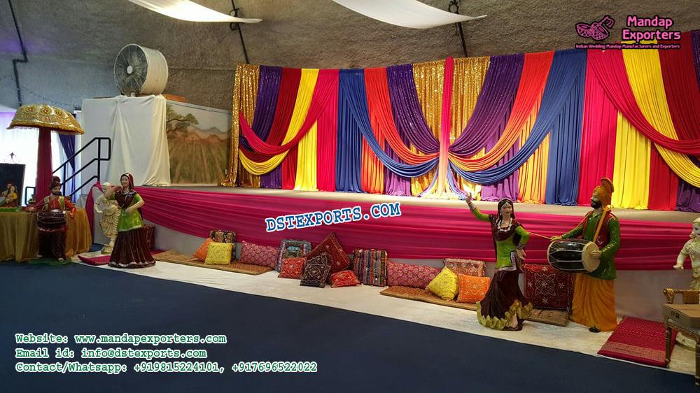 Punjabi Wedding Mehndi Night Stage Decor