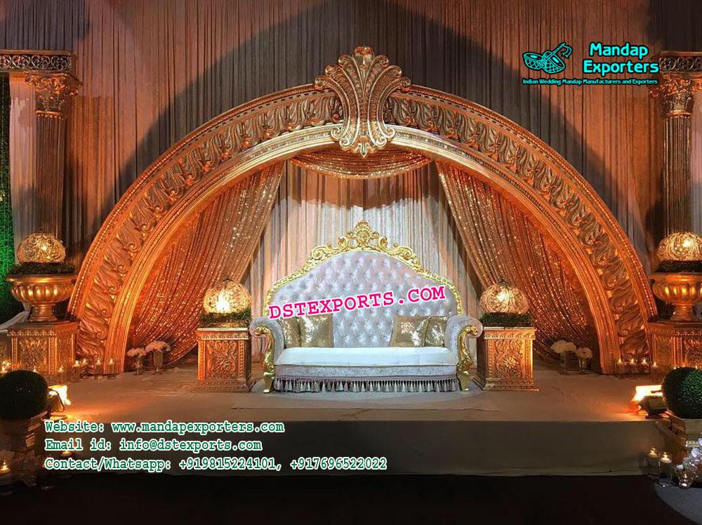 Stylish Half Moon Wedding Stage Decor – Mandap Exporters