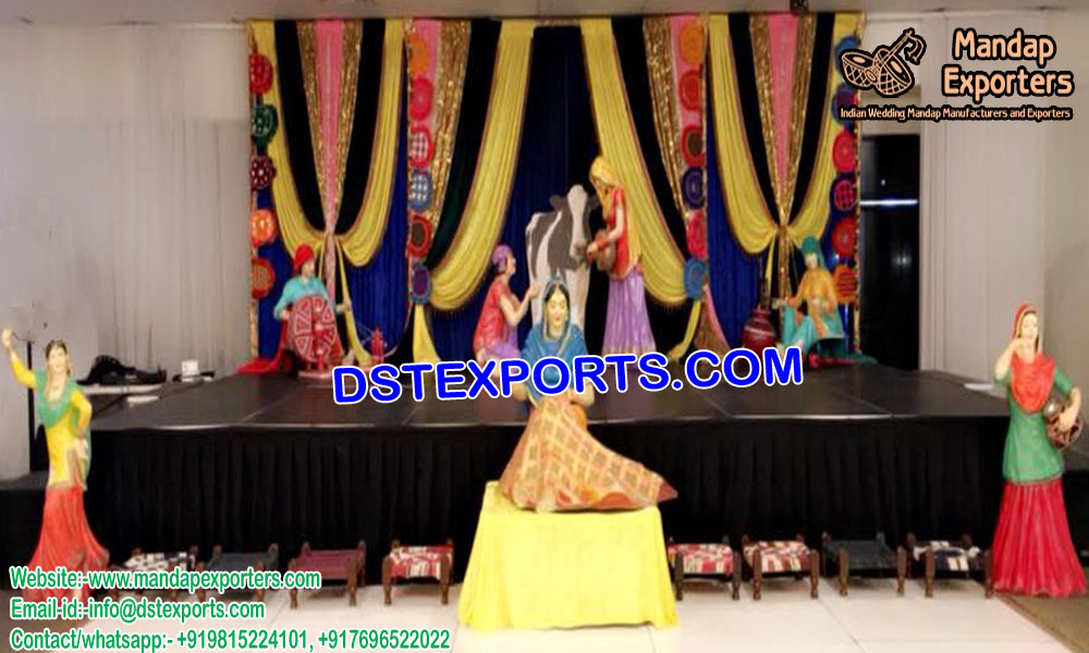 Traditional Punjabi Statues for Mehndi Decor