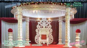 Indian Wedding White Pillar Fiber Mandap