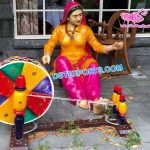 Punjabi Lady Fiber Statue With Charkha