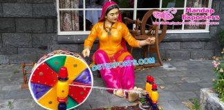 Punjabi Lady Fiber Statue With Charkha