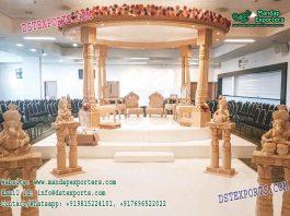 Wedding Wooden Look Double Pillar Mandap