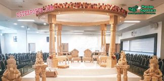 Wedding Wooden Look Double Pillar Mandap