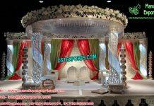 Spiral Crystal Pillar Wedding Mandap