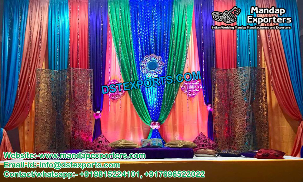 Stylish Mehandi Stage Backdrop Curtains