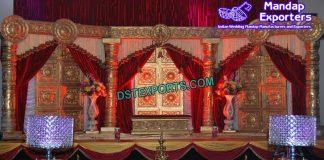 Traditional Door Panels Wedding Stage Setup