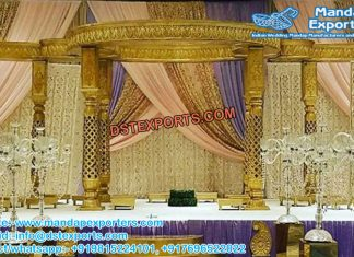 Wedding Golden Jali Fiber Mandap Decoration