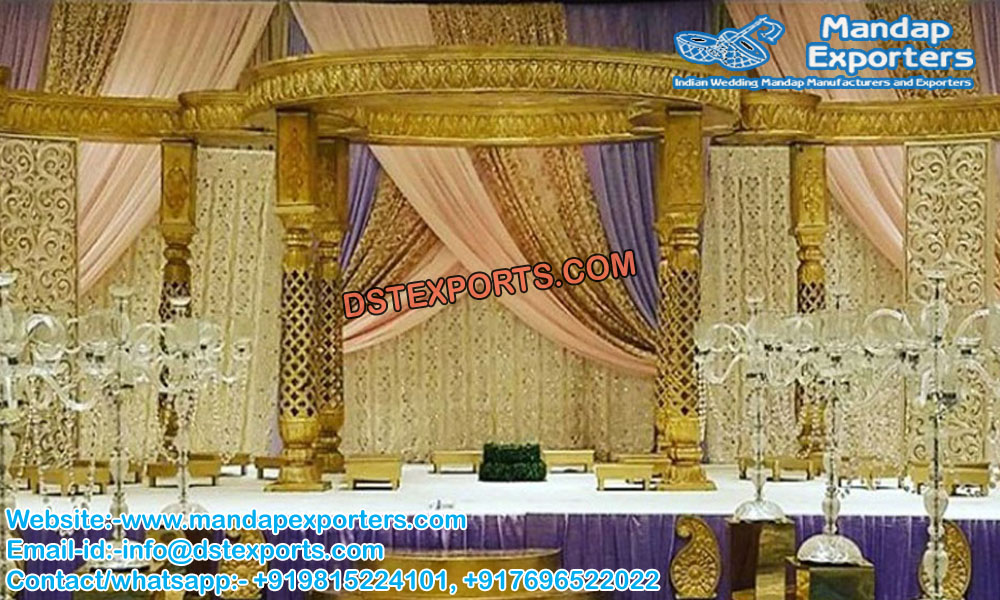 Wedding Golden Jali Fiber Mandap Decoration