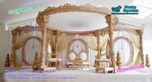Wedding Wooden Look Fiber Mandap