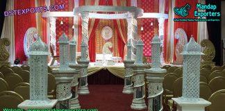 White Fiber Crystal Wedding Mandap