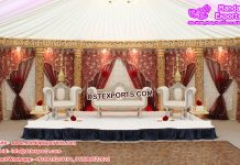 Wedding Stage Embrodried Mahraab Backdrops