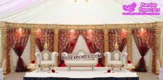 Wedding Stage Embrodried Mahraab Backdrops