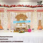 White Sparkling Wedding Wooden Mandap