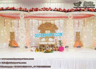 White Sparkling Wedding Wooden Mandap