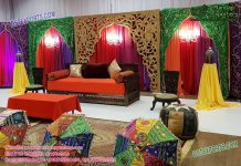Mehndi Ceremony Colorful Backdrop Curtains