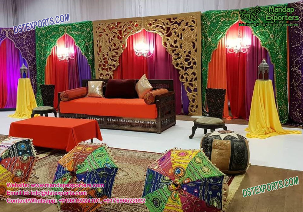 Fine Mehndi Ceremony Colorful Backdrops Are Manufactured By Dst Interior Design Ideas Inamawefileorg