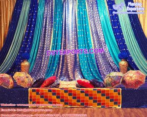 Beautiful Sangeet Stage Sequin Backdrops