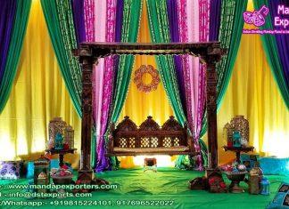 Beautiful Wedding Haldi Ceremony Backdrop Curtains