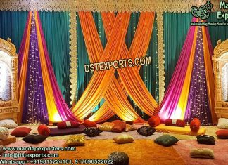 Colorful Sangeet Stage Backdrop Curtains