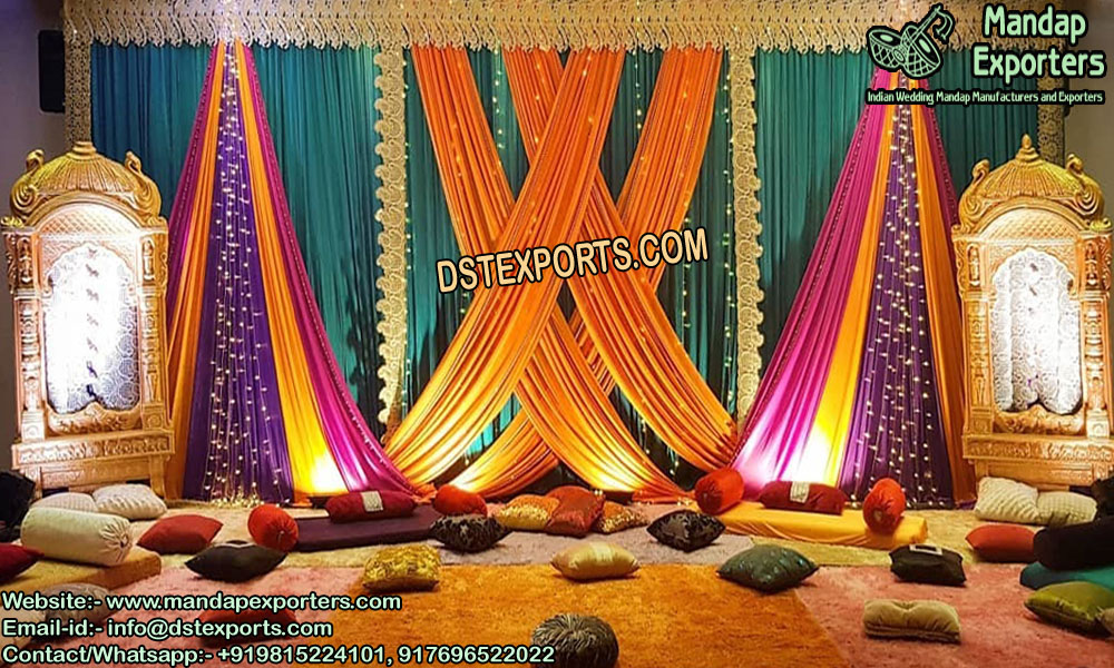 Wondrous Colorful Sangeet Stage Backdrop Curtains Mandap Exporters Interior Design Ideas Inamawefileorg